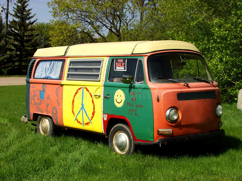 Hippie Van. A hippie van with brightly painted sides and roof