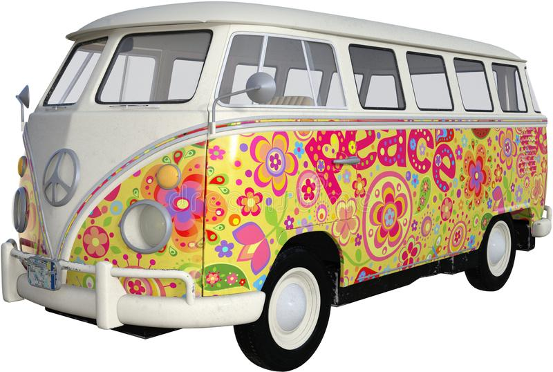 Hippie Van Bus Isolated, vintage de VW, retro ilustración del vector