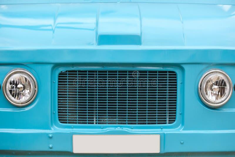 Hippie van front part. Retro vintage vehicle. Blue color royalty free stock image