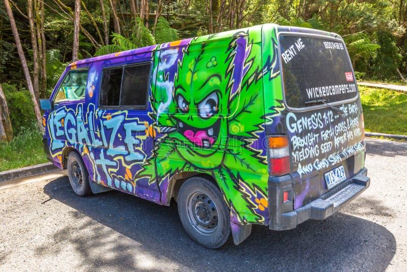 Hippie Van Legalize Marijuana fotografia de stock royalty free