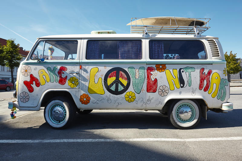 Hippie van retro style. Make love not war. Psychedelic royalty free stock image