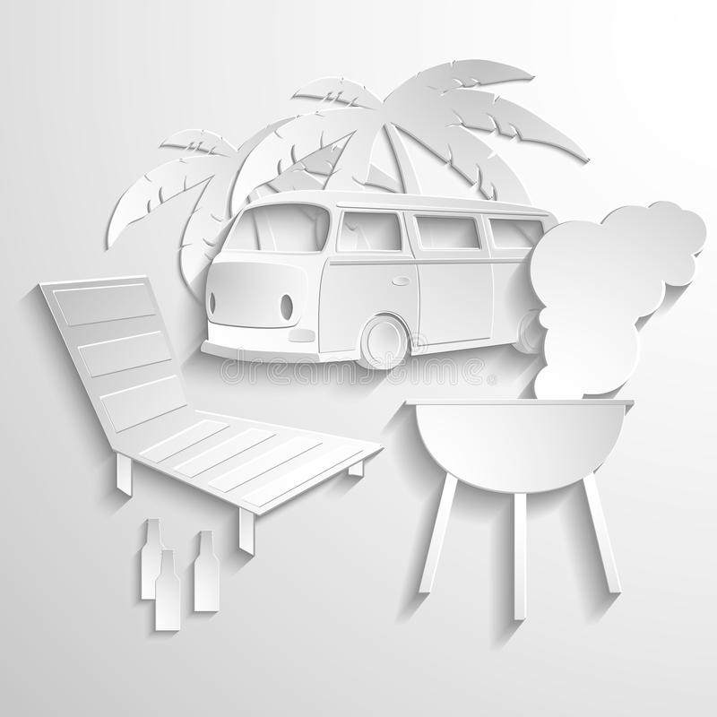 Hippie van travel beach adventure vacation flat 3d. Web isometric infographic concept vector. Minibus microbus bus vehicle suitcases surfboard palms sand and stock illustration