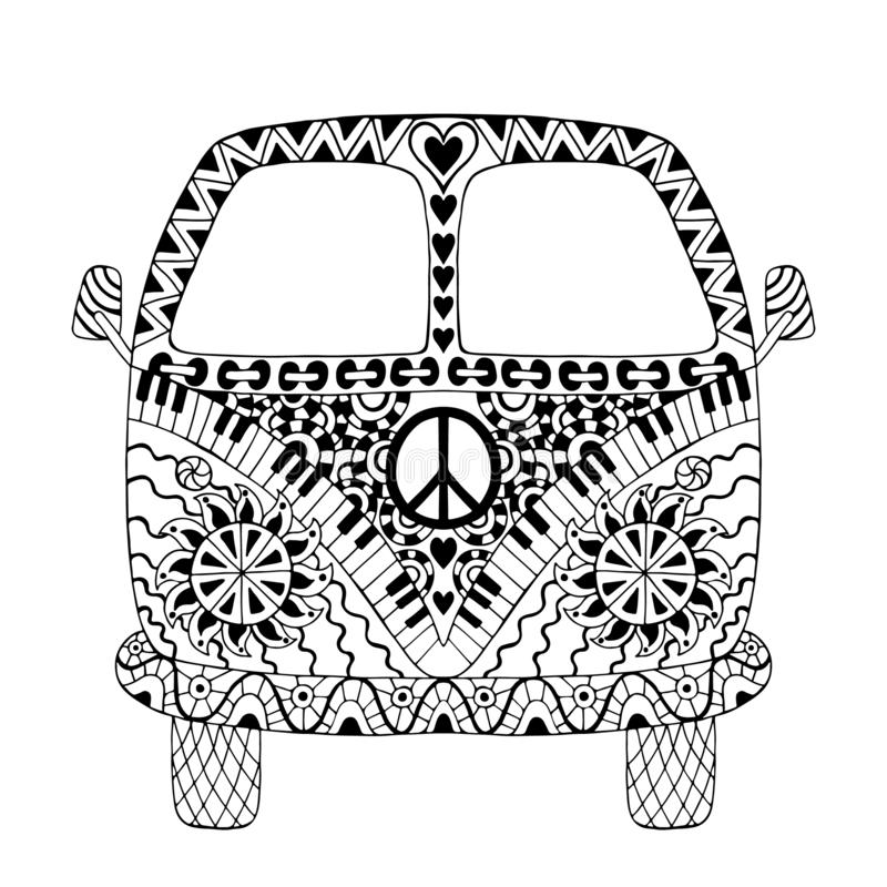 Hippie vintage car a mini van. In zentangle style for adult anti stress. Coloring page with high details isolated on white background. Made by trace from sketch stock illustration