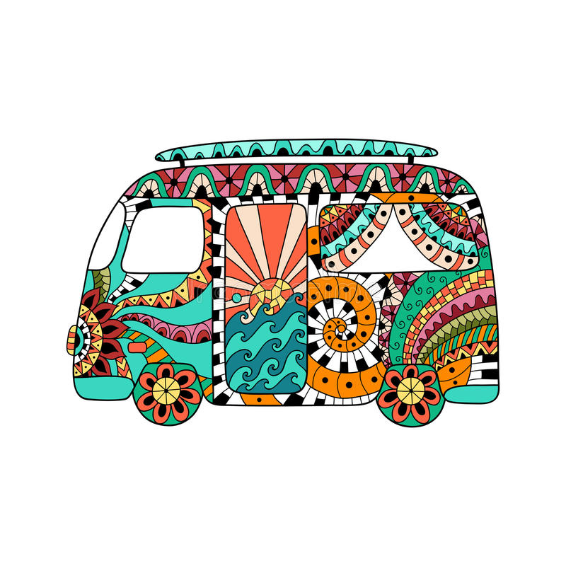 Hippie vintage car a mini van in zentangle style. Colorful hippie bus. royalty free stock photo