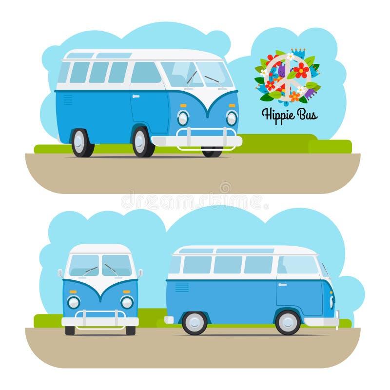 Hippie vintage mini van. Hippie vintage blue mini van. Vector illustration royalty free illustration