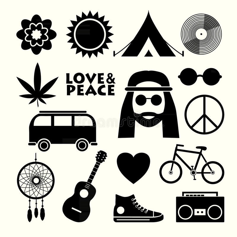 Hippie vlakke pictogrammen royalty-vrije illustratie