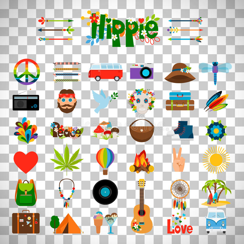 Hippie vlakke pictogrammen op transparante achtergrond stock illustratie