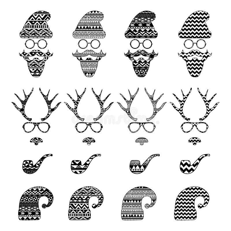 Hippie-Weinlese-Ikone mit Muster-Hintergrund stock abbildung