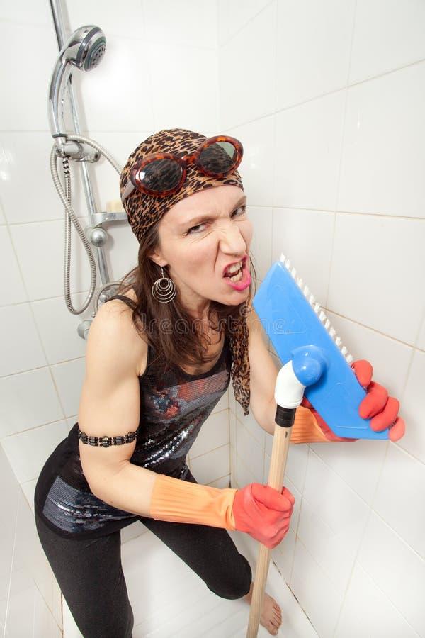 Hippie woman brush singer royalty free stock photos