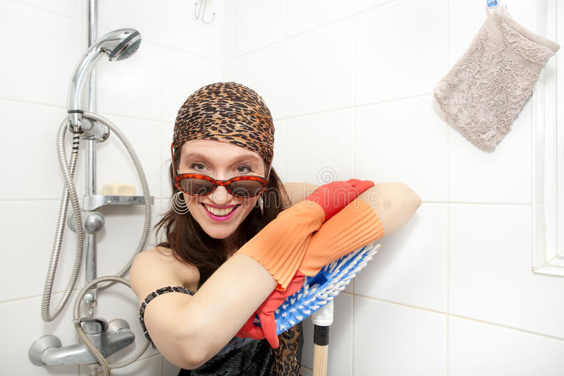 Hippie woman cleaning royalty free stock images
