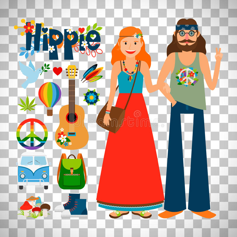 Hippie woman and man with guitar vector illustration