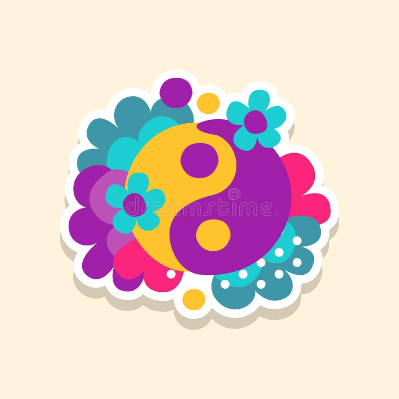 Hippie yin and yang symbol with flowers, cute sticker in bright colors, fashion patch vector illustration, cartoon style vector illustration