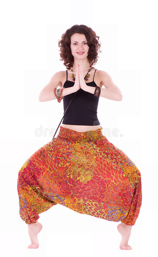 Free Hippie Young Woman Doing Yoga Exercise Royalty Free Stock Photo - 25164555