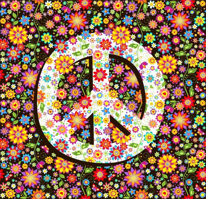 Hippiebehang met bloemendruk en vredessymbool royalty-vrije illustratie