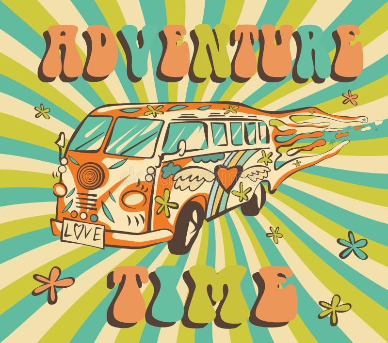Hippiebil, mini- skåpbil på strålbakgrund Affisch för affärsföretagtidvektor Psykedeliskt begrepp royaltyfri illustrationer
