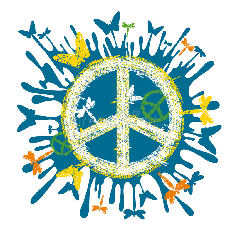 hippiefredsymbol royaltyfri illustrationer