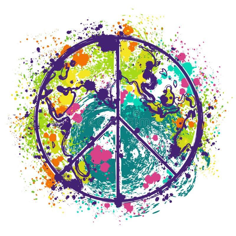 Hippiefredsymbol på jordjordklotbakgrund med färgstänk i vattenfärgstil stock illustrationer