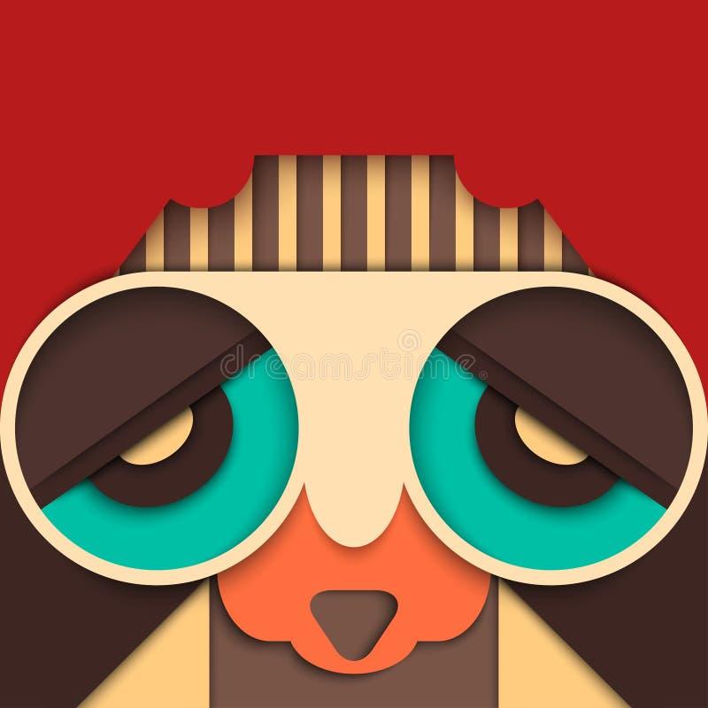 Hippieman med flygaresolglasögon och retro frisyr royaltyfri illustrationer