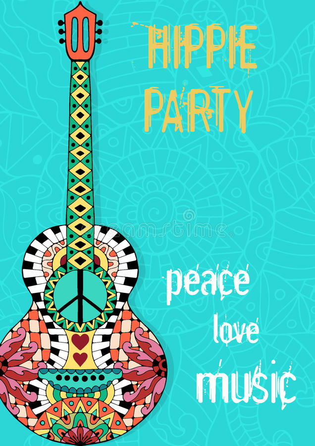 Hippiepartiaffisch Hippy bakgrund med den akustiska gitarren vektor illustrationer