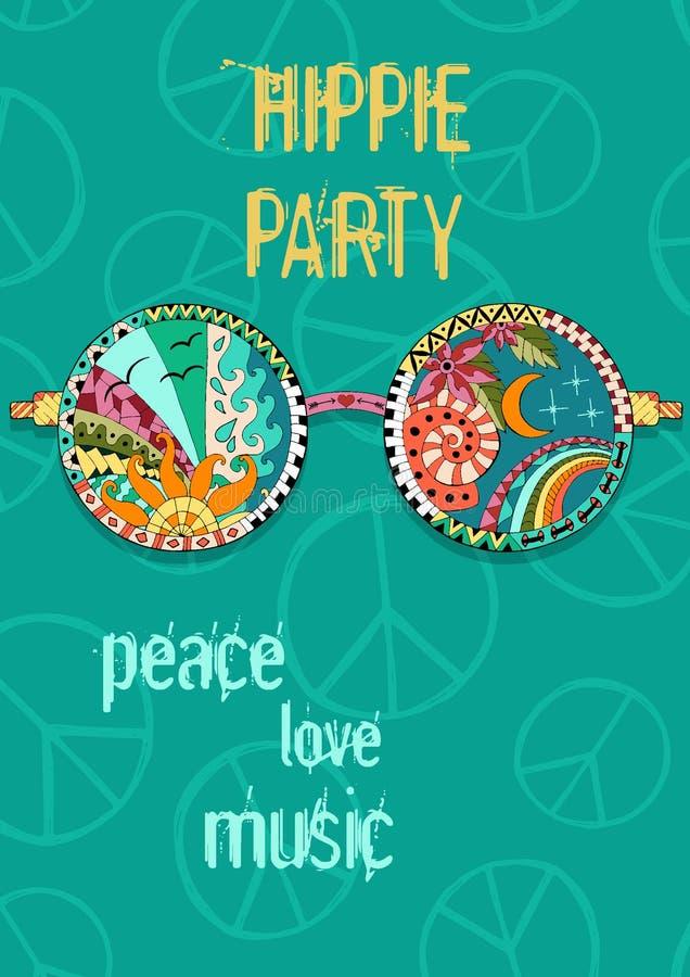 Hippiepartiaffisch Hippy bakgrund med solexponeringsglas royaltyfri illustrationer