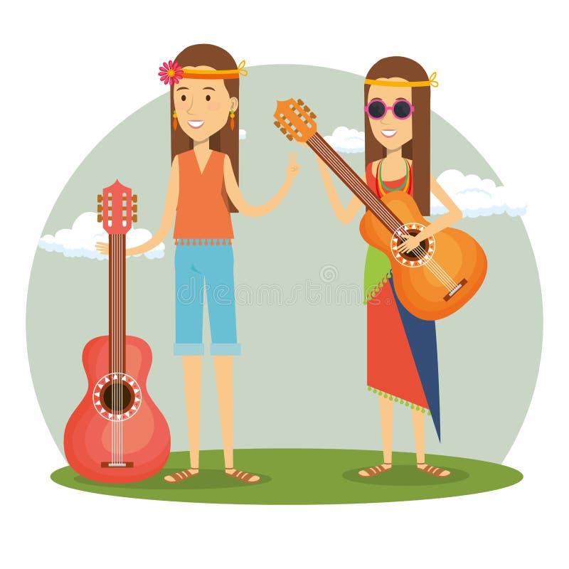 Hippies de couples jouant des caractères de mode de vie de guitare illustration libre de droits