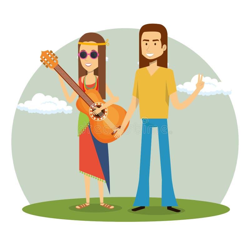 Hippies de couples jouant des caractères de mode de vie de guitare illustration de vecteur