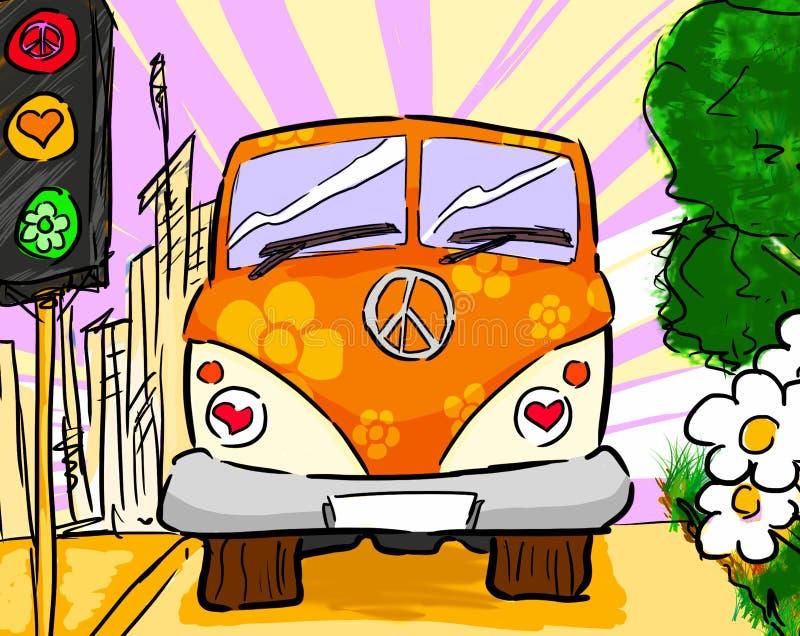 Hippieskåpbil royaltyfri illustrationer