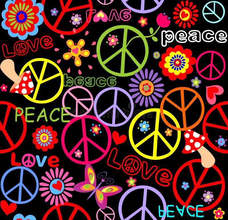 Hippietapete mit Friedenssymbol, Pilzen und abstrakten Blumen stock abbildung