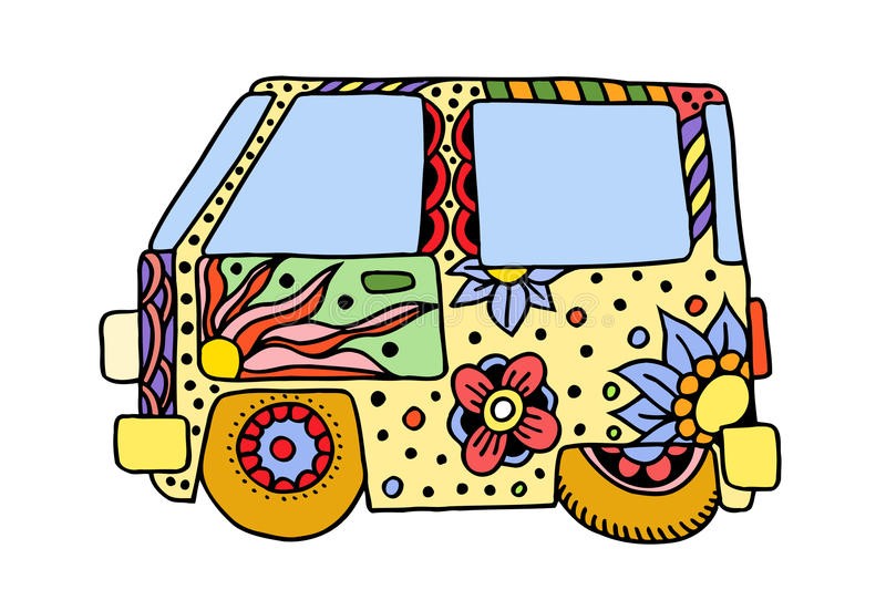 Hippietappningbil en mini- skåpbil vektor illustrationer