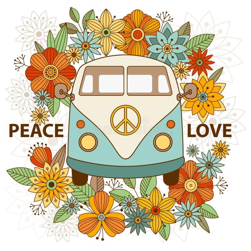Hippietappningbil en mini- skåpbil dekorativ bakgrund vektor illustrationer