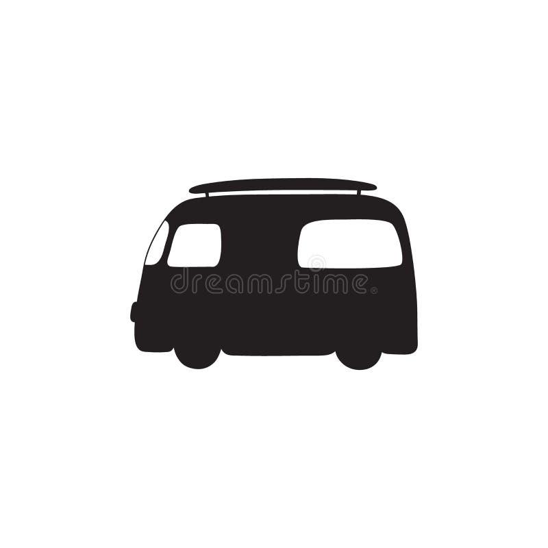 Hippietappningbil en mini- skåpbil symbol Hippiebusslogo vektor illustrationer