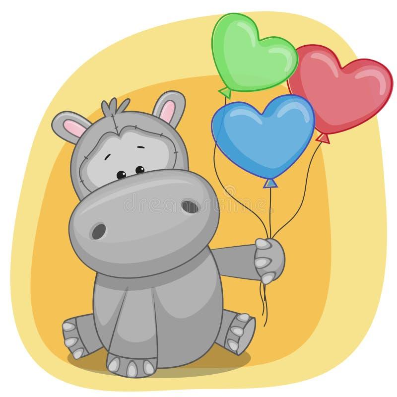 Открытка с бегемотиком на день рождения, поздравления