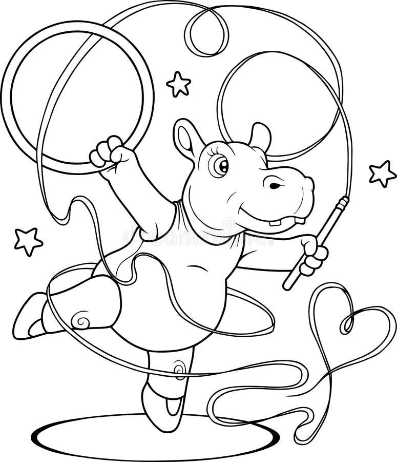 Hippo is bezig geweest met gymnastiek vector illustratie