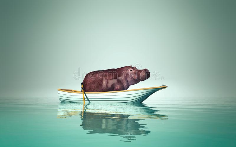 Hippo in a boat. Hippopotamus sitting in a boat . This is a 3d render illustration vector illustration