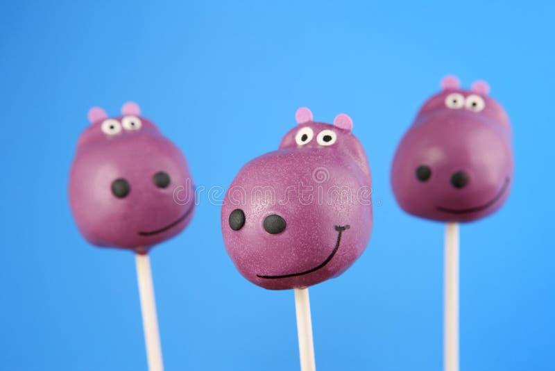 Hippo Cake Pops Stock Photo