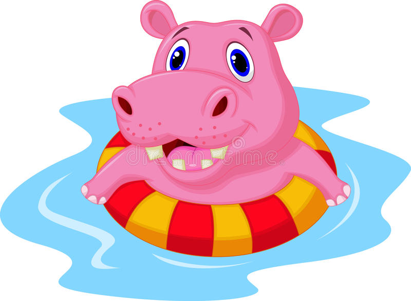 Hippo cartoon on an inflatable circle in the pool stock