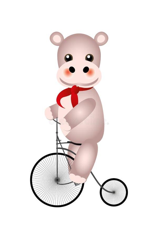 Hippo em turnê - um lindo Hippopotamus em bicicleta retrô isolada em fundo branco ilustração royalty free