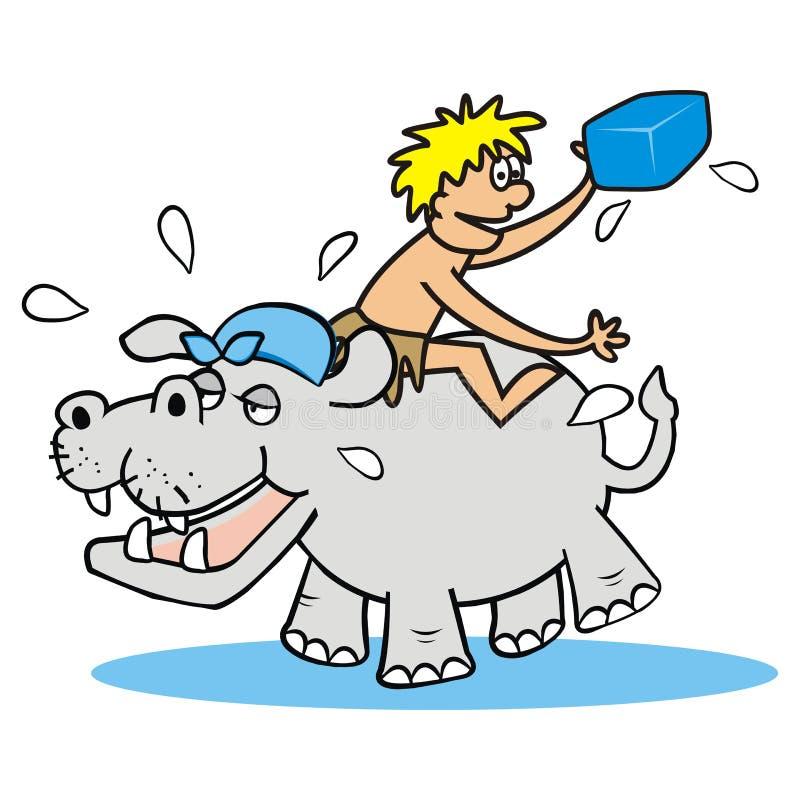 Hippo en mens royalty-vrije illustratie