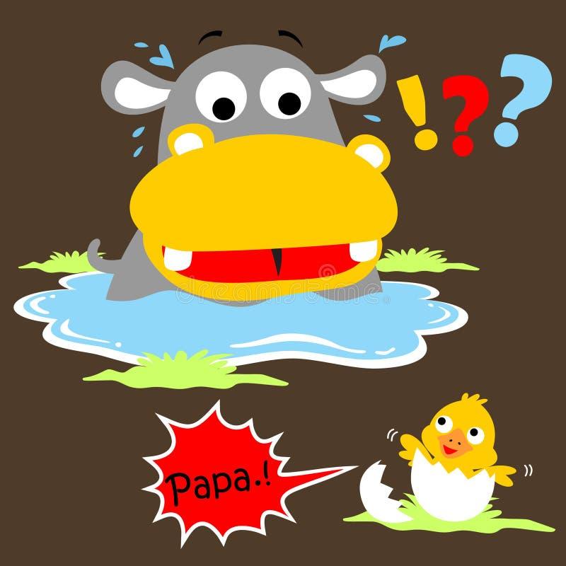 Hippo en weinig eendbeeldverhaal in het moeras royalty-vrije illustratie