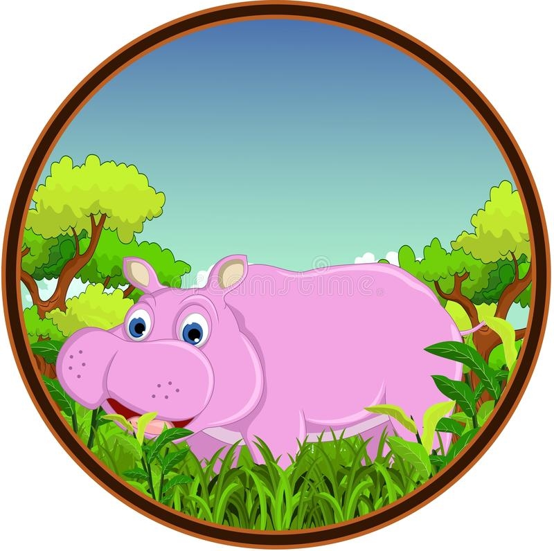 Download Hippo With Forest Background Stock Illustration - Illustration: 34268914