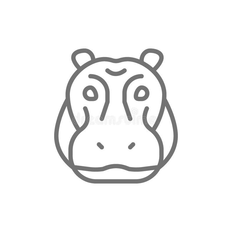 Hippo glyph, rivier-paard, het pictogram van de nijlpaardlijn stock illustratie