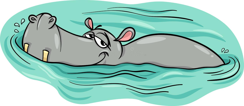 Hippo or hippopotamus in river cartoon stock illustration