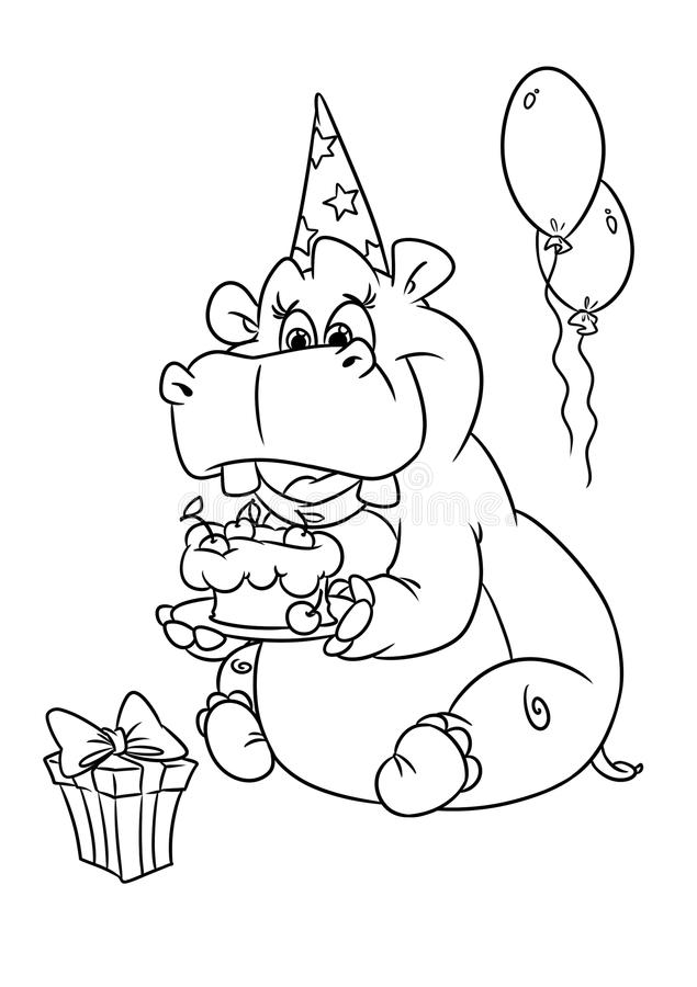 Hippo Holiday Birthday Coloring Pages Stock Illustration ...