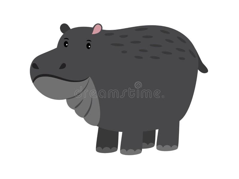 hippo Leuk vectorbeeldverhaalnijlpaard, aanbiddelijk Afrikaans behemothdier, rivier-paard op wit royalty-vrije illustratie
