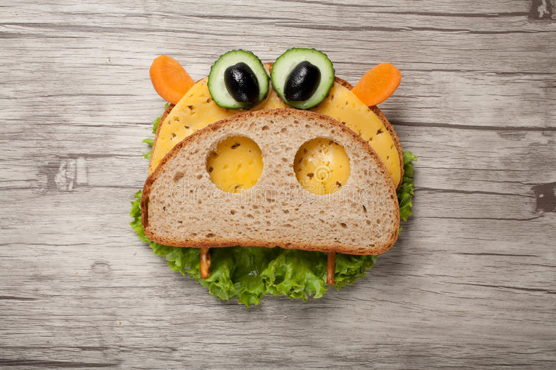 Hippo made of bread and vegetables stock photography
