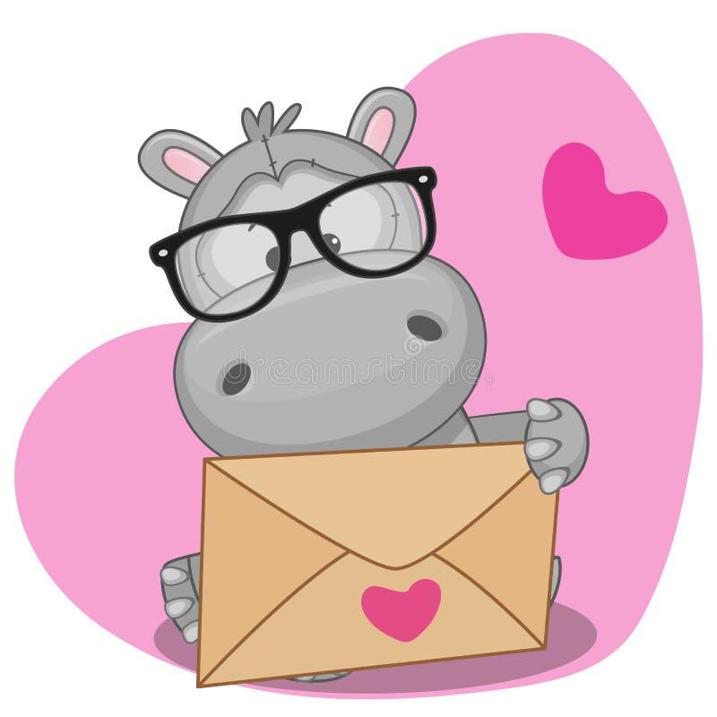 Hippo met envelop royalty-vrije illustratie