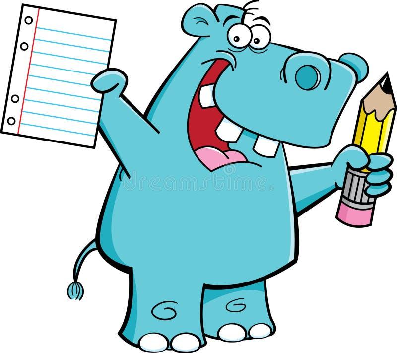 Download Hippo student stock vector. Image of cartoon, clip, hippopotamus - 25983796
