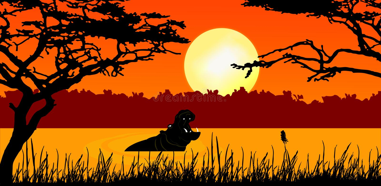 Download Hippo in sunset stock illustration. Image of lake, mammal - 12885433