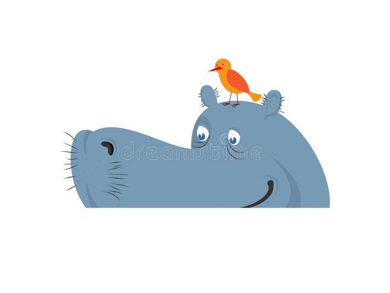 Hippo in Water Nijlpaard in rivier Groot dierlijk Afrika royalty-vrije illustratie