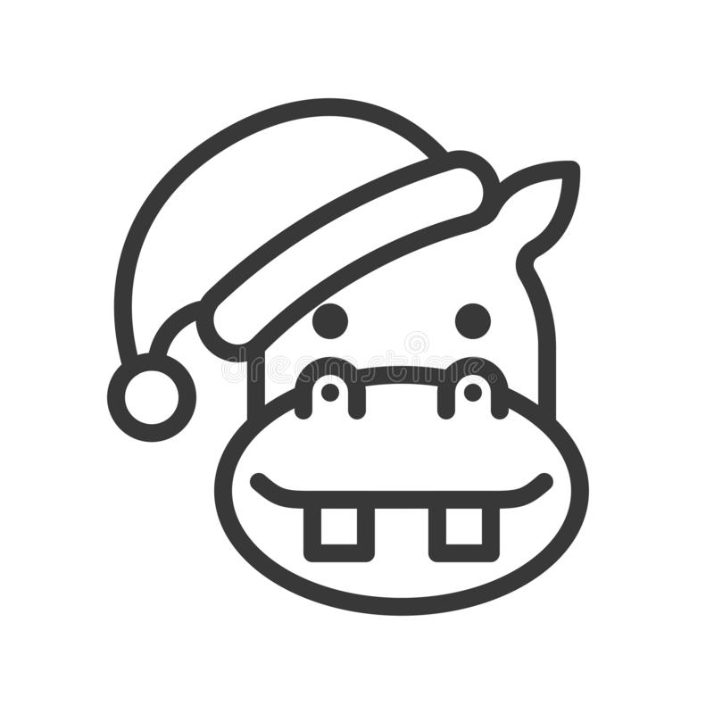 Hippo wearing santa hat outline icon editable stroke vector illustration